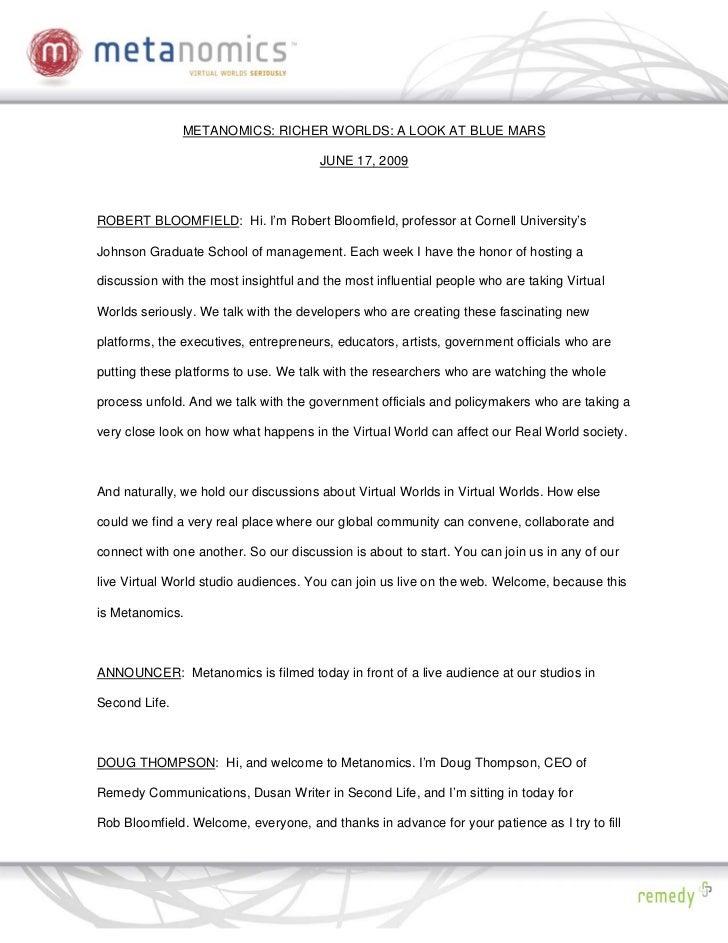 METANOMICS: RICHER WORLDS: A LOOK AT BLUE MARS                                         JUNE 17, 2009    ROBERT BLOOMFIELD:...