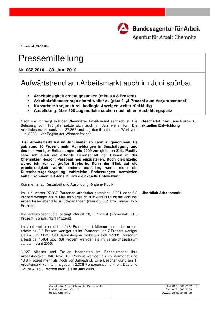 Sperrfrist: 09.55 UhrPressemitteilungNr. 062/2010 – 30. Juni 2010Aufwärtstrend am Arbeitsmarkt auch im Juni spürbar    •  ...
