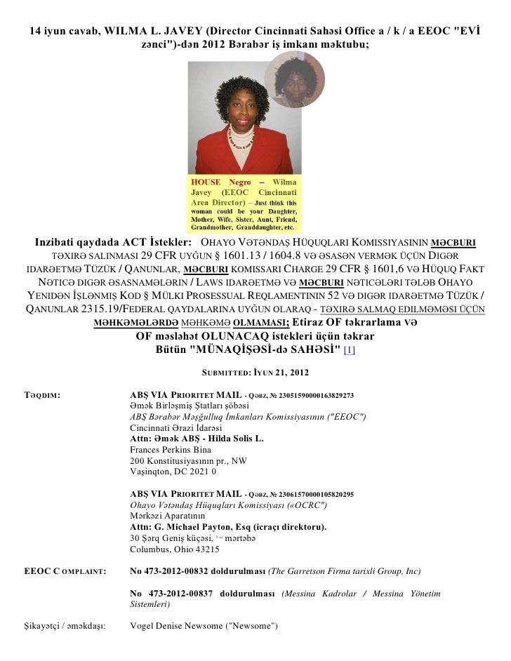 """14 iyun cavab, WILMA L. JAVEY (Director Cincinnati Sahəsi Office a / k / a EEOC """"EVĠ                    zənci"""")-dən 2012 B..."""