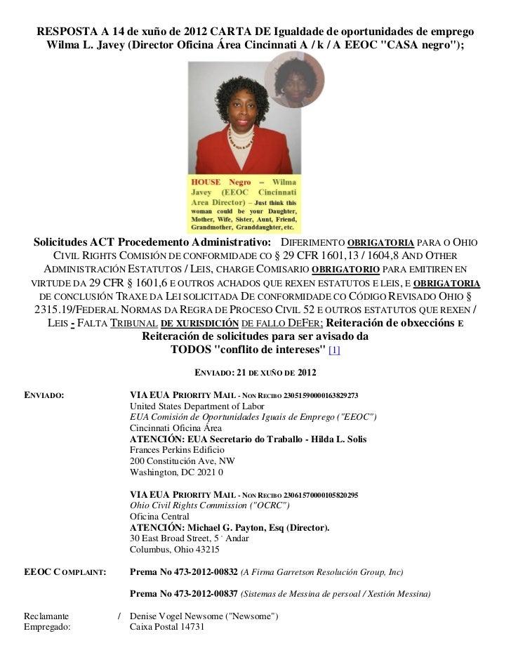 RESPOSTA A 14 de xuño de 2012 CARTA DE Igualdade de oportunidades de emprego   Wilma L. Javey (Director Oficina Área Cinci...