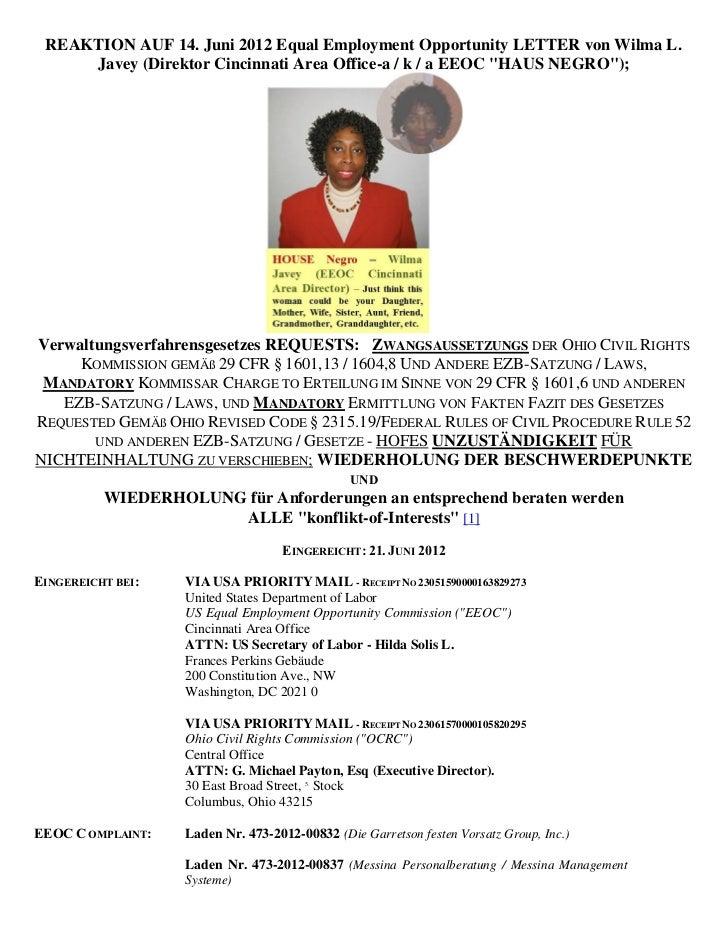 REAKTION AUF 14. Juni 2012 Equal Employment Opportunity LETTER von Wilma L.     Javey (Direktor Cincinnati Area Office-a /...