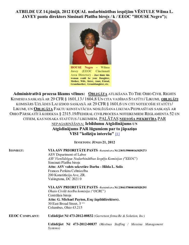 ATBILDE UZ 14.jūnijā, 2012 EQUAL nodarbinātības iespējām VĒSTULE Wilma L.      JAVEY panta direktors Sinsinati Platība bir...