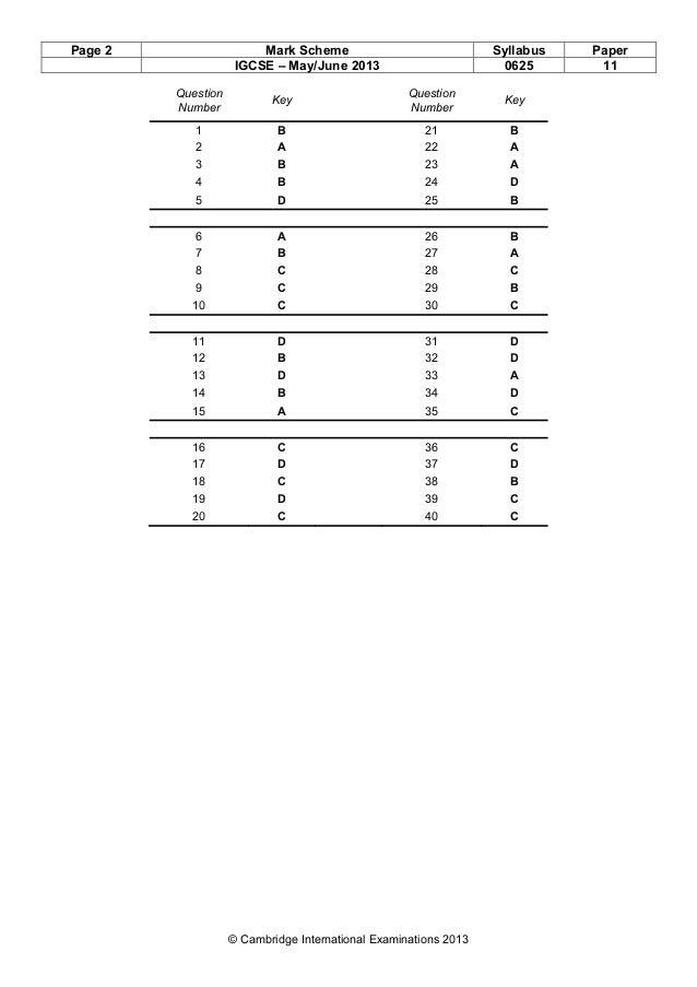 Page 2 Mark Scheme Syllabus