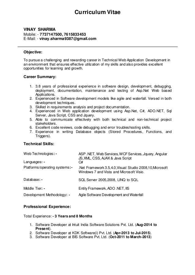 resume vinay sharma asp net