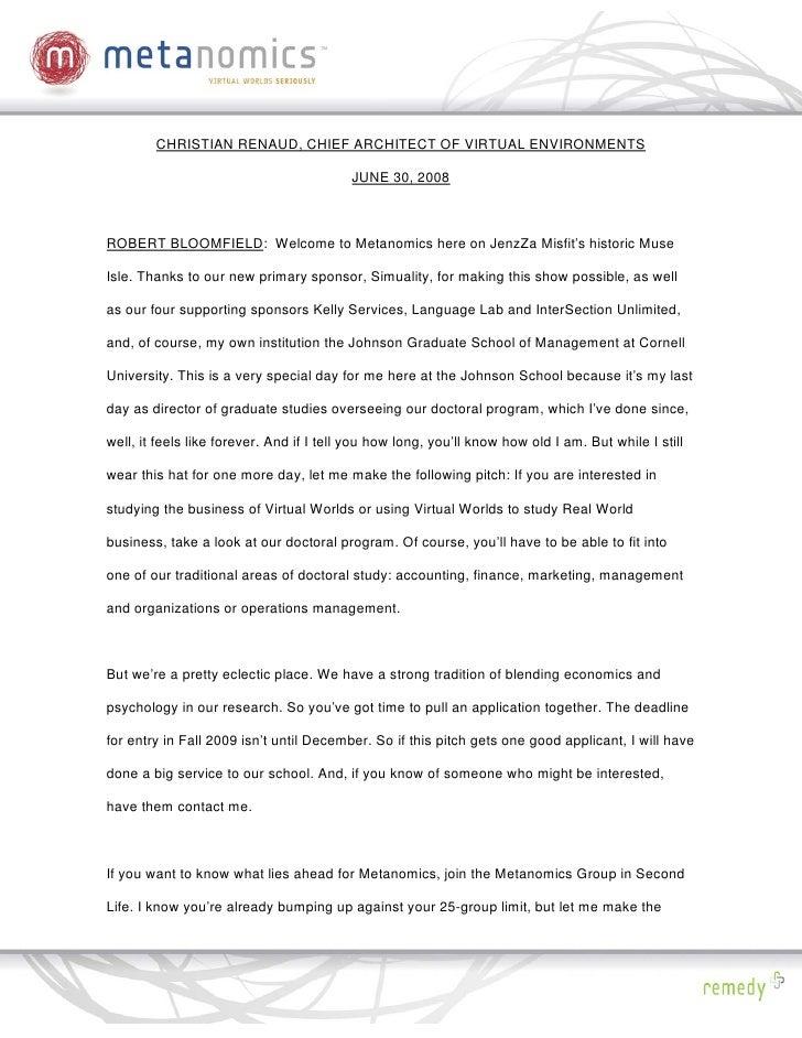 CHRISTIAN RENAUD, CHIEF ARCHITECT OF VIRTUAL ENVIRONMENTS                                            JUNE 30, 2008    ROBE...