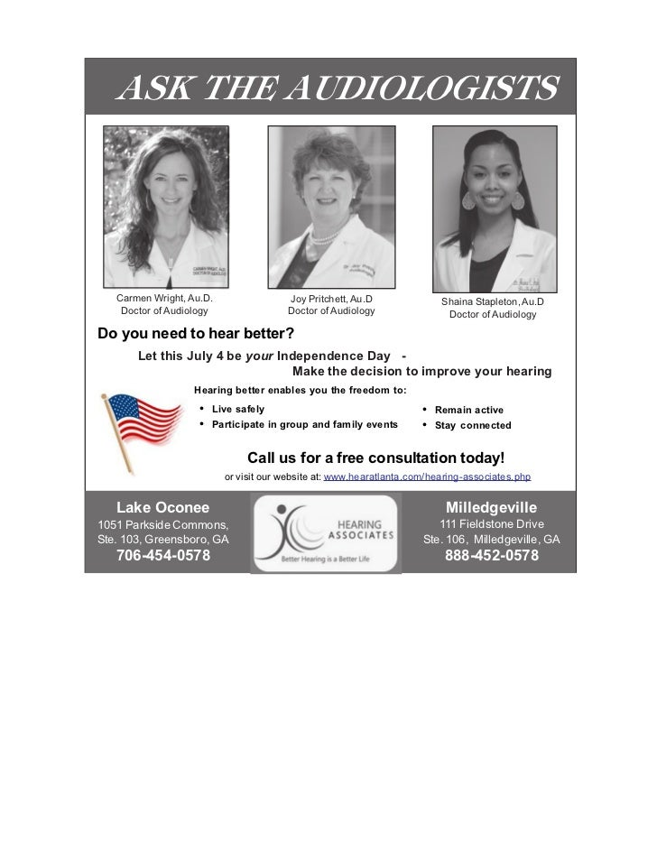 ASK THE AUDIOLOGISTS   Carmen Wright, Au.D.                Joy Pritchett, Au.D                Shaina Stapleton, Au.D    Do...