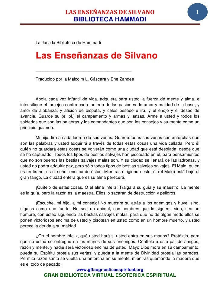 LAS ENSEÑANZAS DE SILVANO                                             1                         BIBLIOTECA HAMMADI        ...