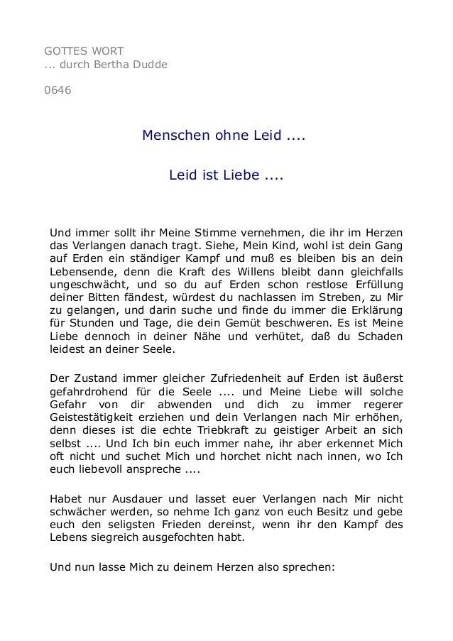 GOTTES WORT ... durch Bertha Dudde 0646 Menschen ohne Leid .... Leid ist Liebe .... Und immer sollt ihr Meine Stimme verne...