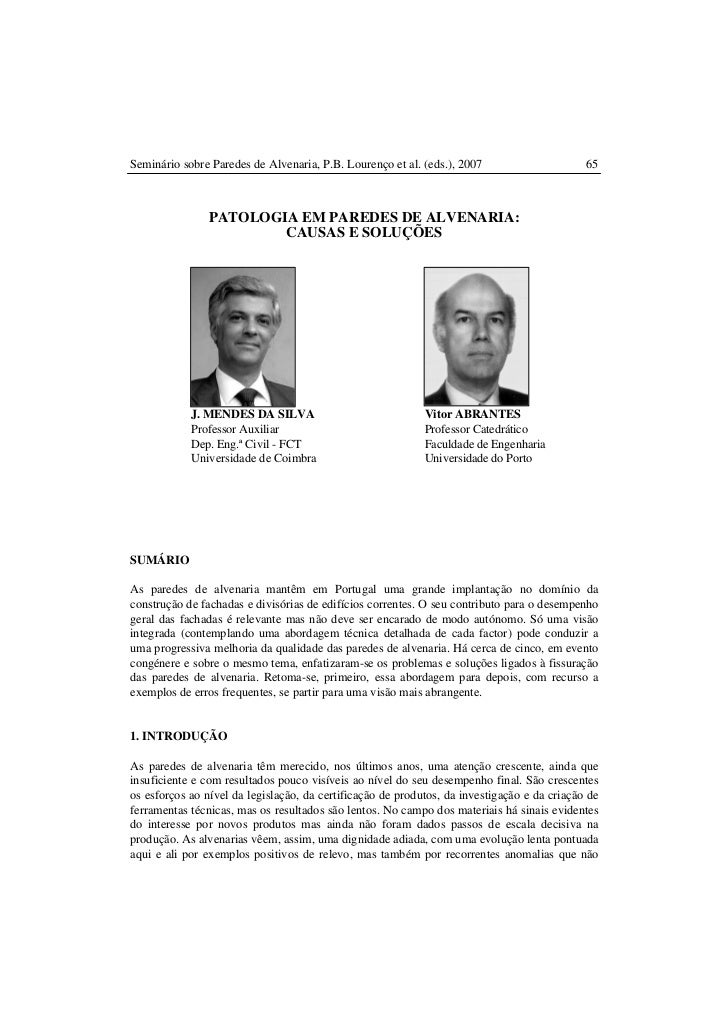 Seminário sobre Paredes de Alvenaria, P.B. Lourenço et al. (eds.), 2007                      65                PATOLOGIA E...