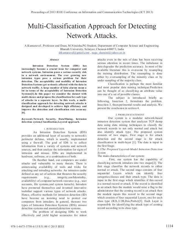 Multi-Classification Approach for Detecting Network Attacks. A.Kumaravel , Professor and Dean, M.Niraisha,PG Student, Depa...