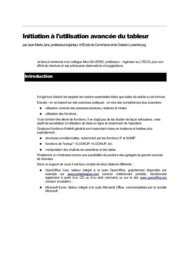 Initiation à lutilisation avancée du tableurpar Jean-Marie Jans, professeur-ingénieur à l'École de Commerce et de Gestion ...