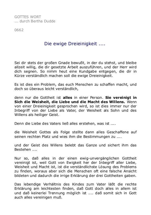 GOTTES WORT ... durch Bertha Dudde 0662  Die ewige Dreieinigkeit ....  Sei dir stets der großen Gnade bewußt, in der du st...