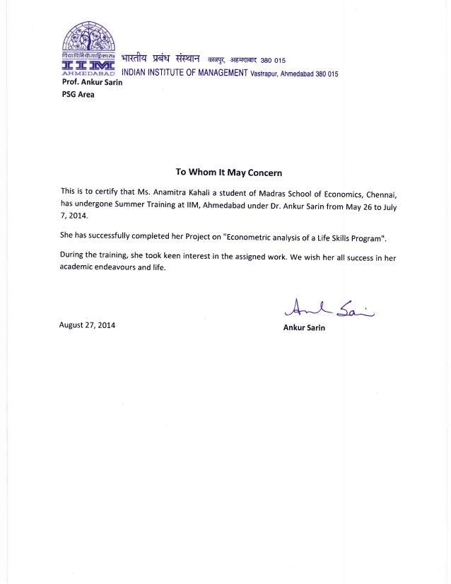 Internship Certificate Letter Pdf