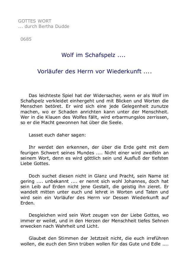 GOTTES WORT ... durch Bertha Dudde 0685  Wolf im Schafspelz .... Vorläufer des Herrn vor Wiederkunft ....  Das leichteste ...
