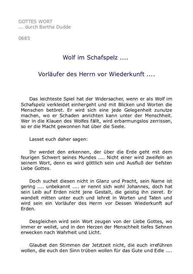 GOTTES WORT ... durch Bertha Dudde 0685 Wolf im Schafspelz .... Vorläufer des Herrn vor Wiederkunft .... Das leichteste Sp...