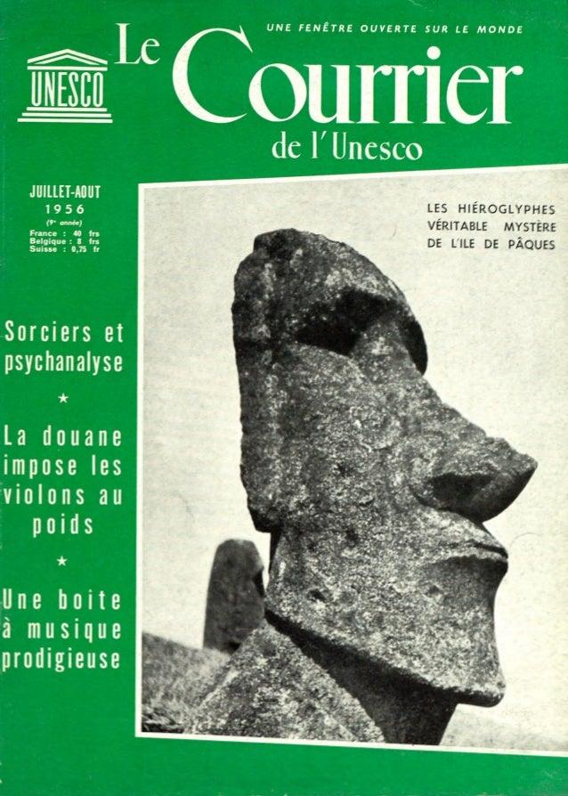 UNE FENÊTRE  OUVERTE  SUR LE  MONDE  de r Unesco JUILLET-AOUT LES  T956 ( 9- année) France  :  40  VÉRITABLE  MYSTERE  frs...