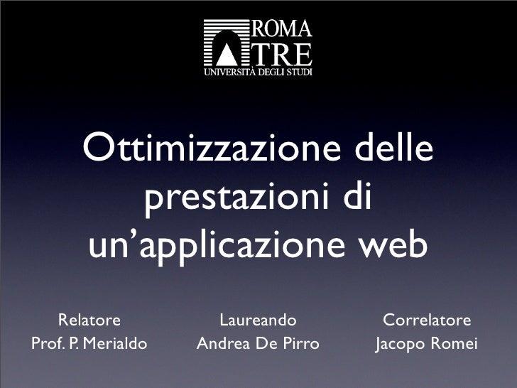 Ottimizzazione delle prestazioni di una applicazione web