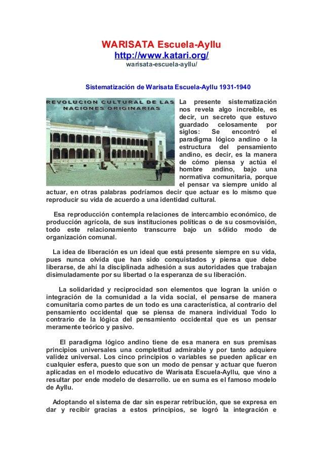 WARISATA Escuela-Ayllu http://www.katari.org/ warisata-escuela-ayllu/ Sistematización de Warisata Escuela-Ayllu 1931-1940 ...