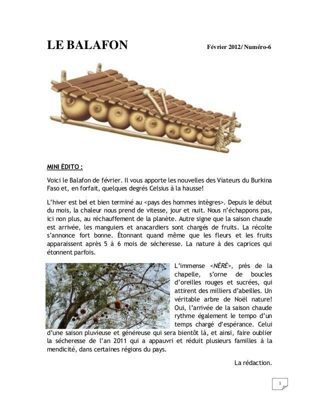 LE BALAFON                                                Février 2012/ Numéro-6MINI ÉDITO :Voici le Balafon de février. I...