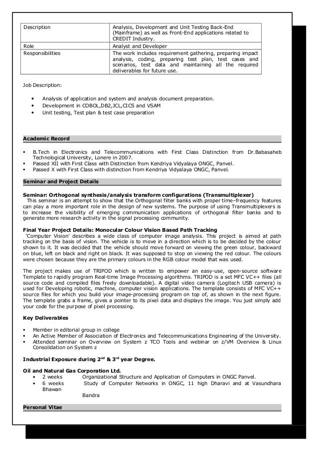 sle resume for experienced mainframe developer 28 images