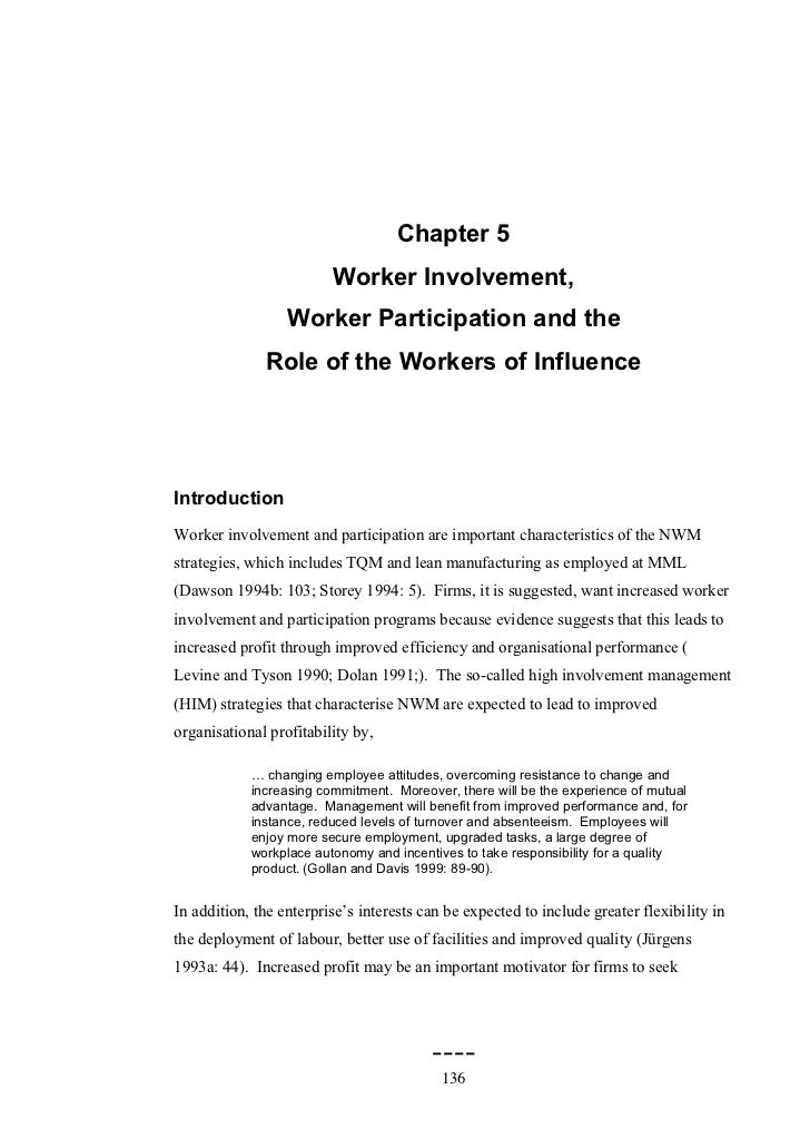 Chapter 5                         Worker Involvement,                  Worker Participation and the              Role of t...