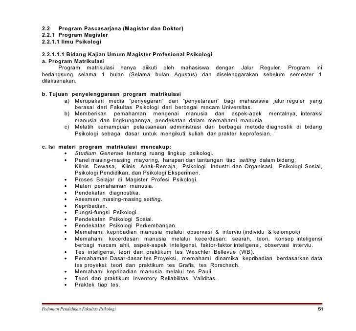 2.2 Program Pascasarjana (Magister dan Doktor) 2.2.1 Program Magister 2.2.1.1 Ilmu Psikologi  2.2.1.1.1 Bidang Kajian Umum...