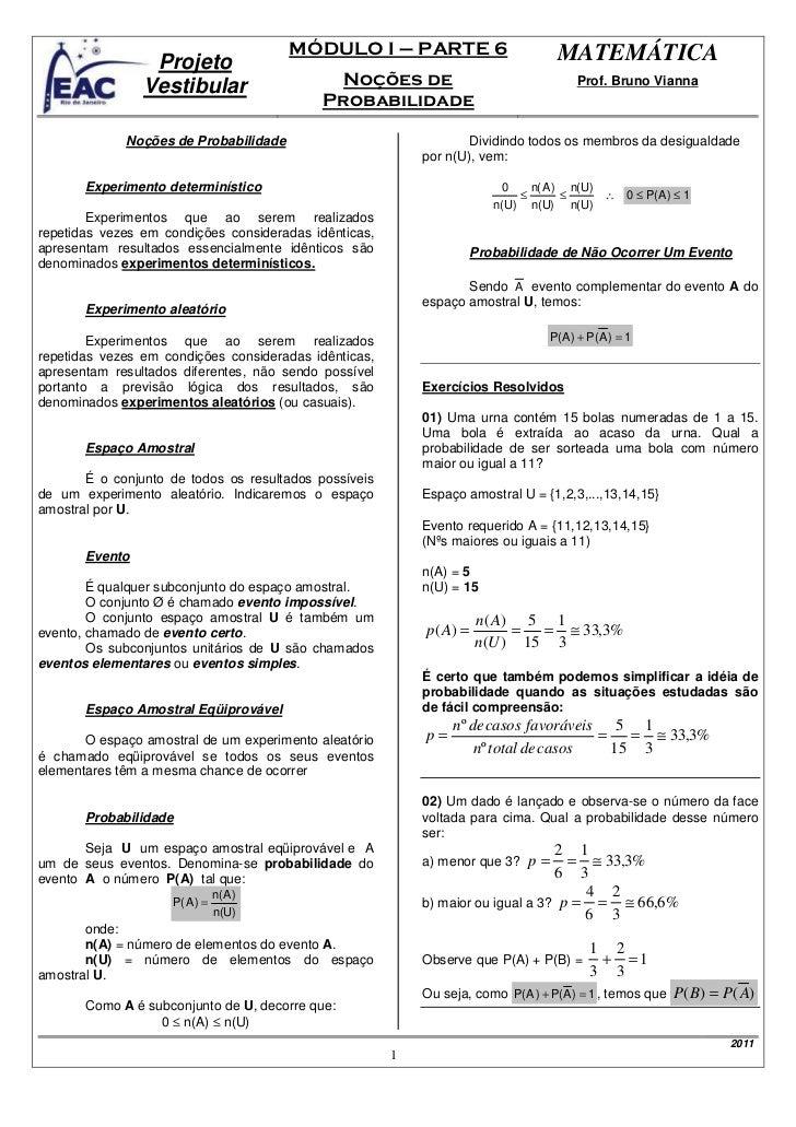 MÓDULO I – PARTE 6                          MATEMÁTICA                 Projeto                Vestibular                  ...