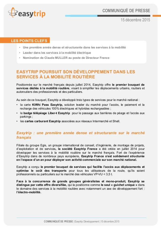 COMMUNIQUÉ DE PRESSE 15 décembre 2015             EASYTRIP POURSUIT SON DÉVELOPPEMENT DANS LES SERVICES À LA MOBIL...