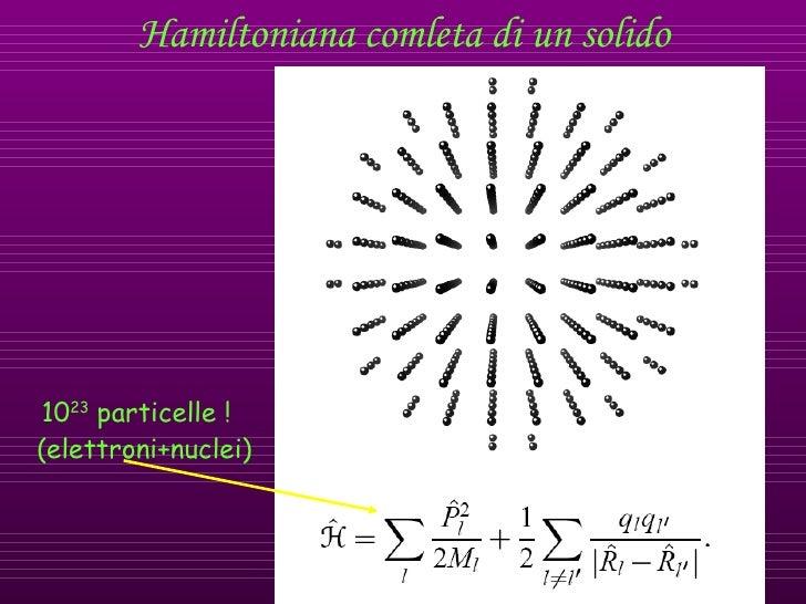Hamiltoniana comleta di un solido 10 23  particelle ! (elettroni+nuclei)