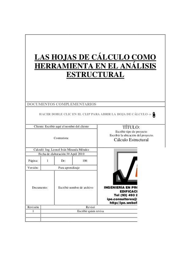 LAS HOJAS DE CÁLCULO COMO HERRAMIENTA EN EL ANÁLISIS ESTRUCTURAL DOCUMENTOS COMPLEMENTARIOS HACER DOBLE CLIC EN EL CLIP PA...