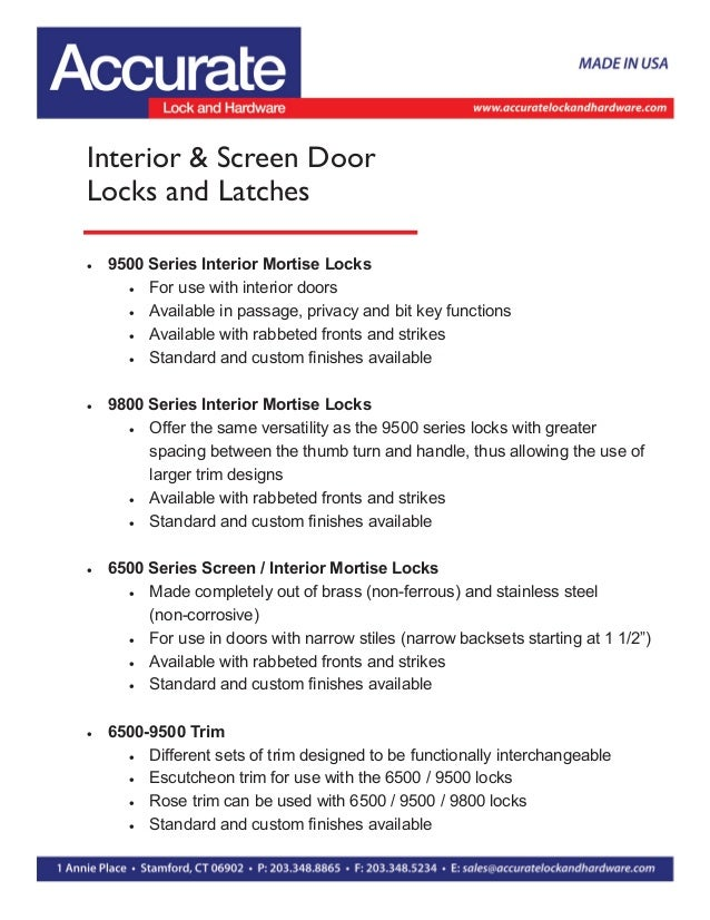 Interior & Screen Door Locks and Latches  9500 Series Interior Mortise Locks  For use with interior doors  Available in...