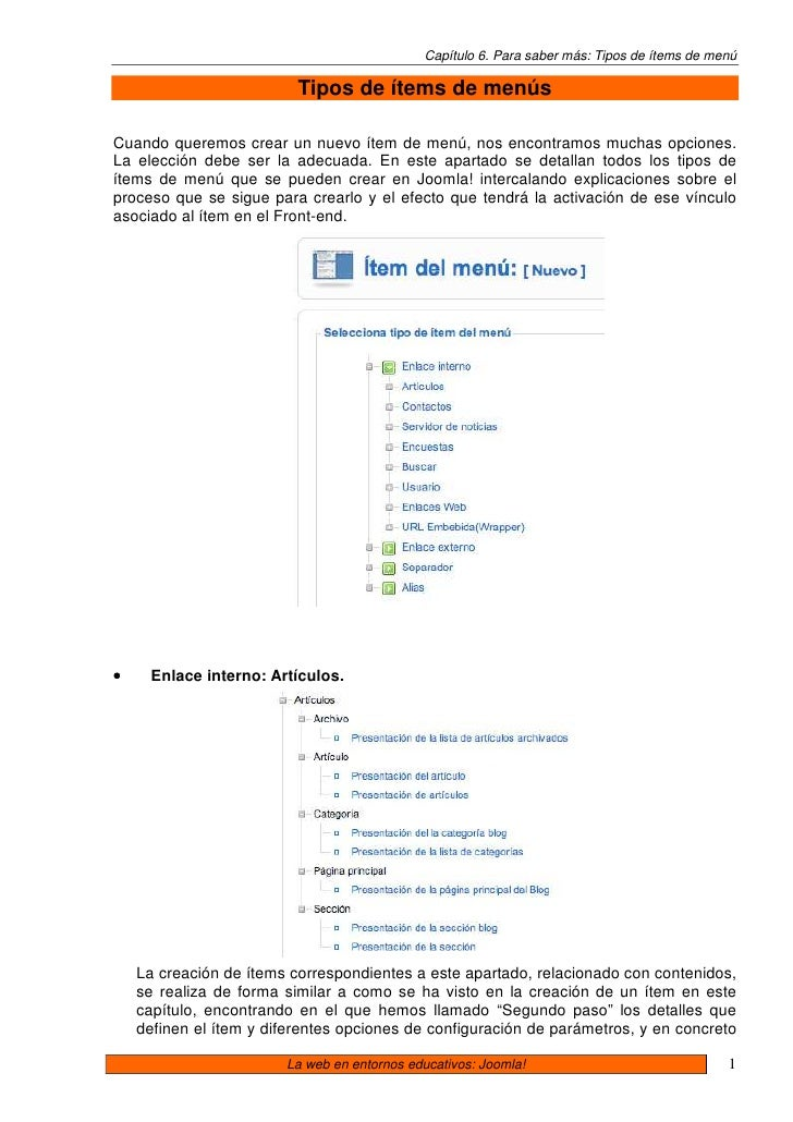06 Joomla. Tipos De Items De Menu