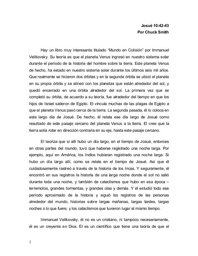 """1 Josué 10:42-43 Por Chuck Smith Hay un libro muy interesante titulado """"Mundo en Colisión"""" por Immanuel Velikovsky. Su teo..."""
