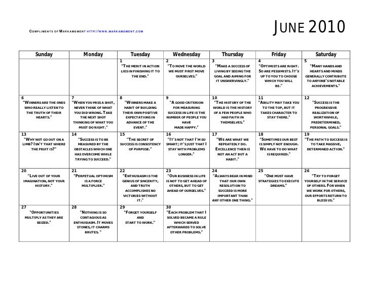 Free printable monthly calendar June 2010