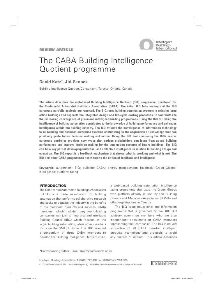 REVIEW ARTICLE                The CABA Building Intelligence                Quotient programme                David Katz*,...
