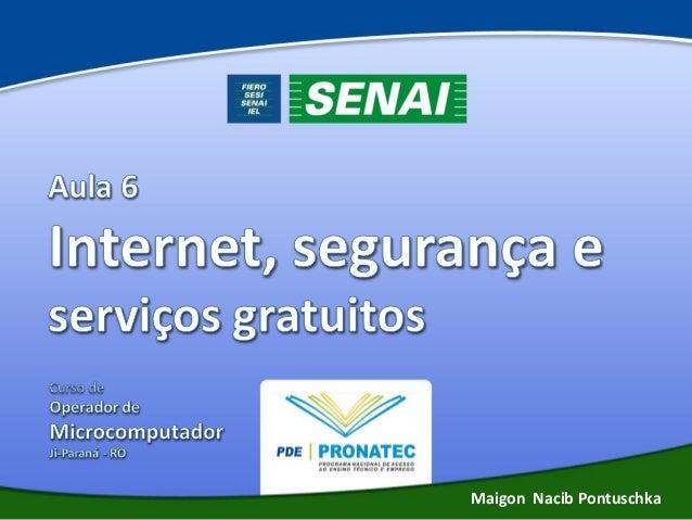 Aula 06 Internet, segurança e serviços gratuitos - Operador de Computador