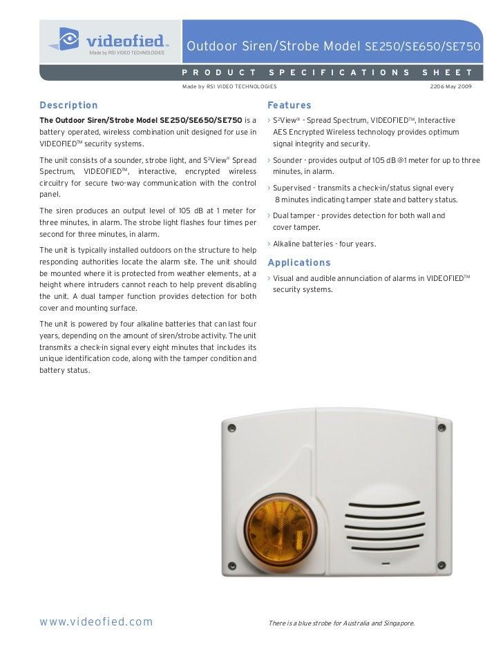 Outdoor Siren/Strobe Model SE250/SE650/SE750                                          P R O D U C T              S P E C I...