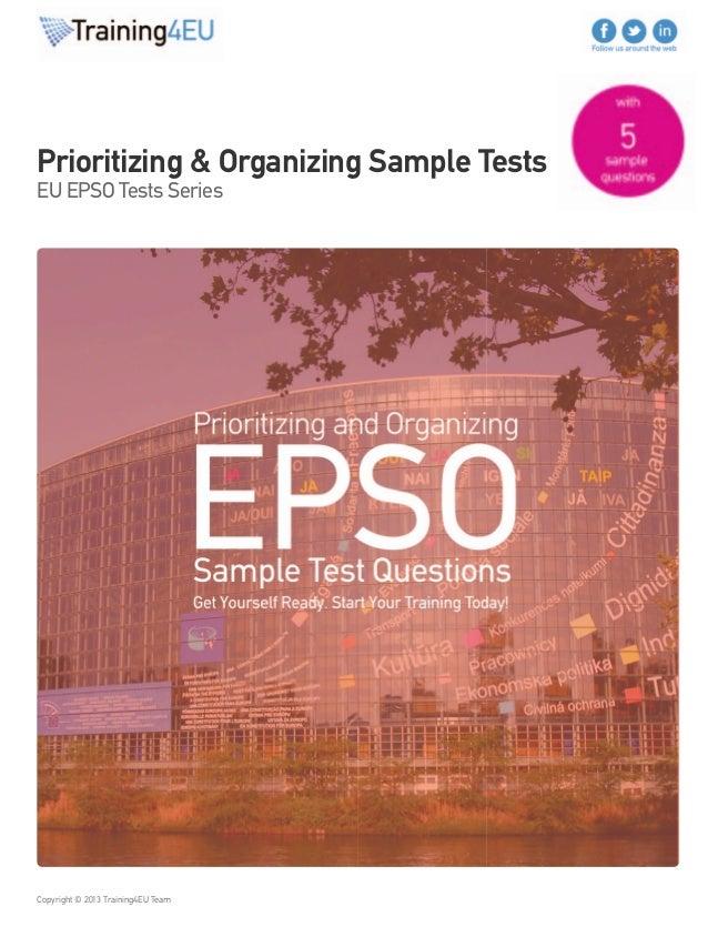 Prioritizing and Organizing tests EU EPSO