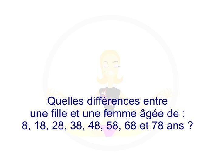 Diaporama PPS réalisé pour http://www.diaporamas-a-la-con.com Quelles différences entre  une fille et une femme âgée de : ...