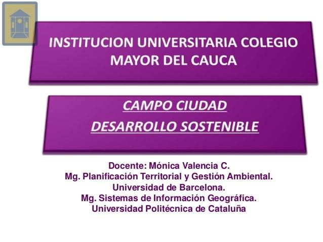 Docente: Mónica Valencia C. Mg. Planificación Territorial y Gestión Ambiental. Universidad de Barcelona. Mg. Sistemas de I...