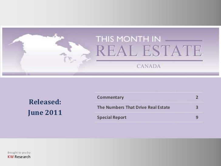This Month in Real Estate for Canada - June 2011