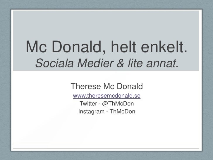 06 torsdag Therese Mc Donald, 2012