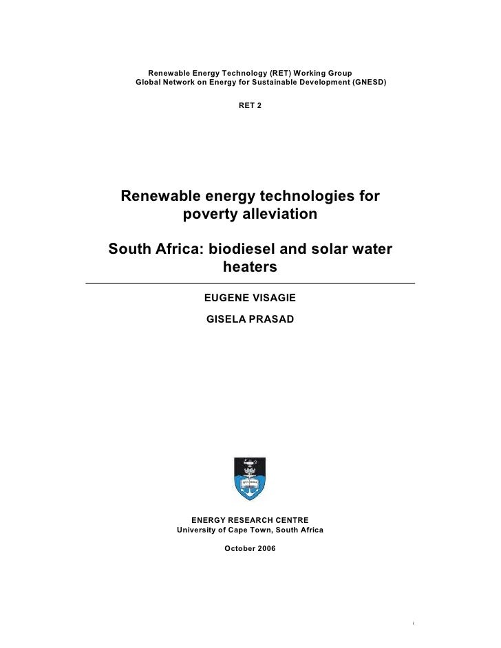 South Africa: Biodiesel and Renewable Energy Technologies For Poverty Alleviation