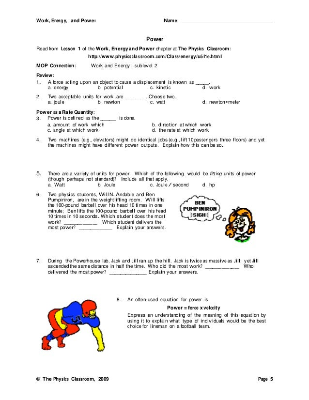 Energy work and power worksheet ch 5 1