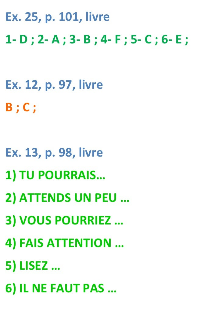 Ex. 25, p. 101, livre1- D ; 2- A ; 3- B ; 4- F ; 5- C ; 6- E ;Ex. 12, p. 97, livreB;C;Ex. 13, p. 98, livre1) TU POURRAIS…2...