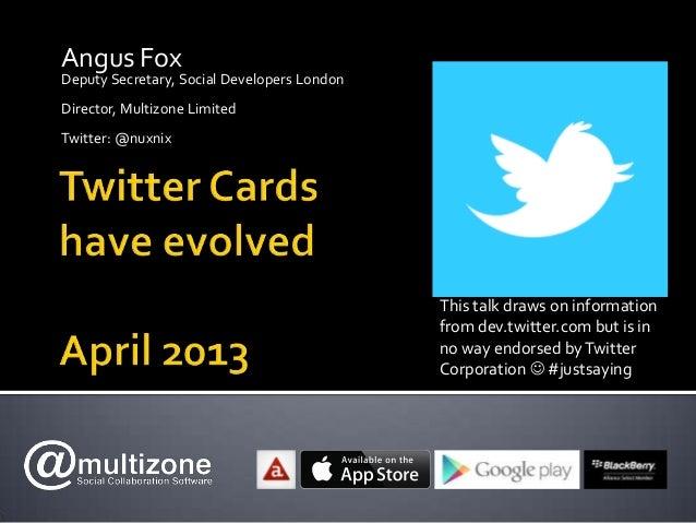 Social Developers London - Twitter Cards Update