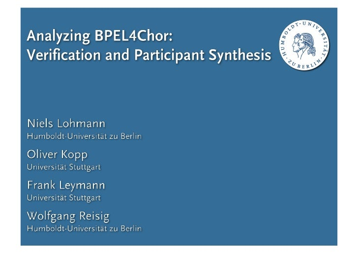 Analyzing BPEL4Chor: Verification and Participant Synthesis