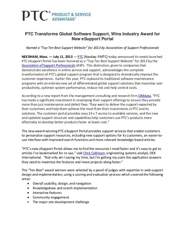 """PTC Transforms Global Software Support, Wins Industry Award for New eSupport Portal Named a """"Top Ten Best Support Website""""..."""