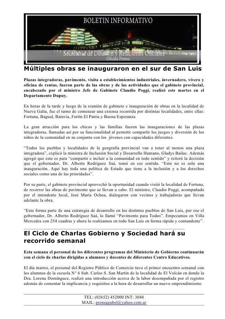 Múltiples obras se inauguraron en el sur de San LuisPlazas integradoras, pavimento, visita a establecimientos industriales...