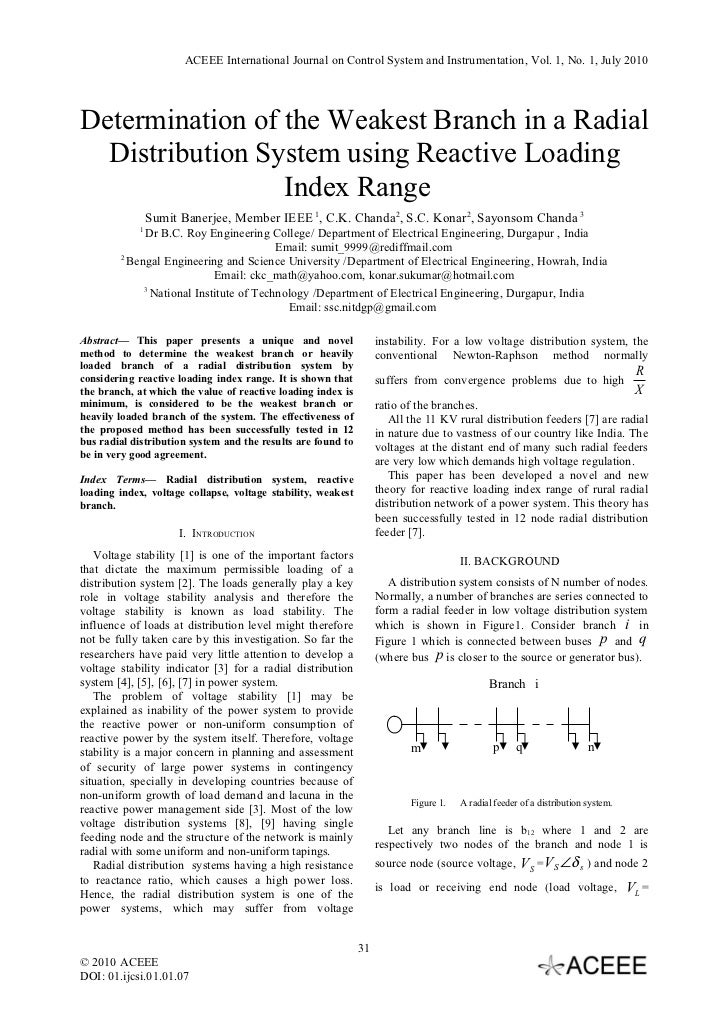 ACEEE International Journal on Control System and Instrumentation, Vol. 1, No. 1, July 2010Determination of the Weakest Br...